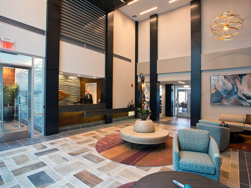 River Tides Dramatic Double-Height Lobby